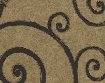 ST30800 Black Wrought Iron Scroll on Antique Gold Wallpaper - Yard