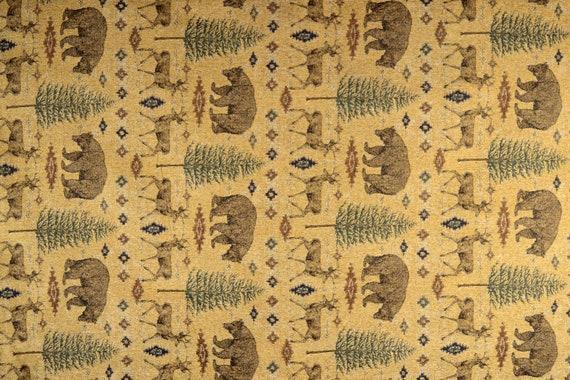 Ottawa Gold Lodge Bear Deer Pine Tree Chenille Upholstery Etsy
