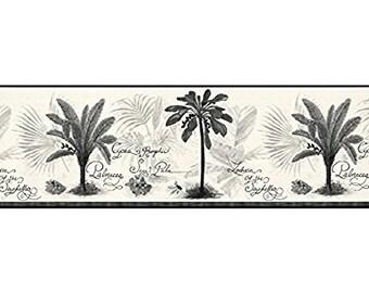 51646170 Black White Grey Palm Tree Imperial Wall Border