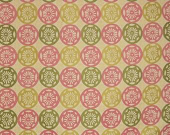 Pink Green Geometric Upholstery Fabric