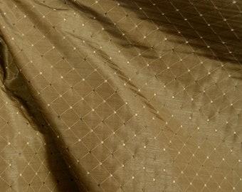 Dalyan Walnut Geometric Diamond Faux Silk Fabric