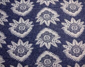 Navy Damask Fabric
