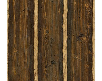 418-41382 Country Log Cabin Faux Wood Wallpaper