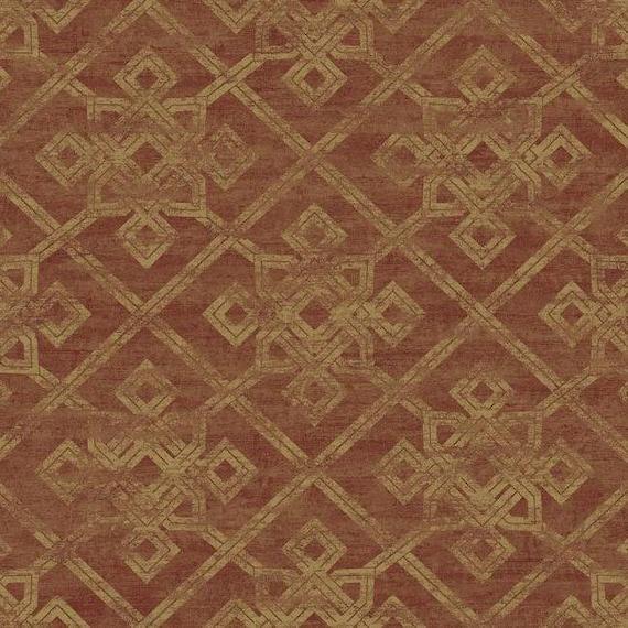 Ad1288 Metallic Gold Geometric On Rusted Red Wallpaper Yard