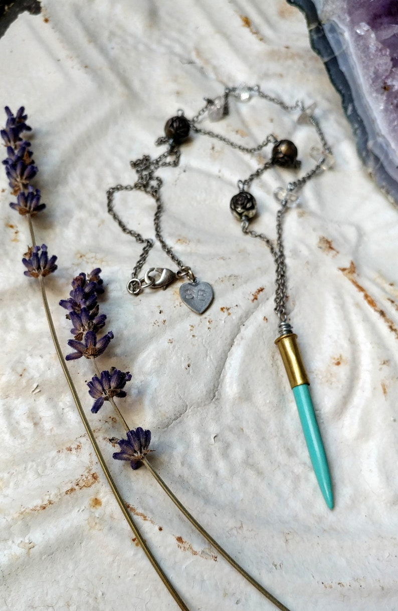 Silver Crystal Necklace Asymmetrical Turquoise Necklace Gemini Necklace Silver Vintage Flower Necklace Turquoise Bullet Casing Necklace