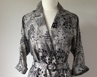 Vintage Geometric Patterned Silver Dress / Silky High Fashion 80s Dress