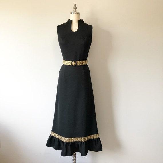 Classy Black Vintage Dress / Gold Detailing / Gold