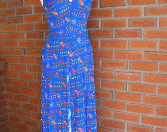Blue Colorful Floral Spring Summer Vintage Fashion Halter 70s Dress With Pockets