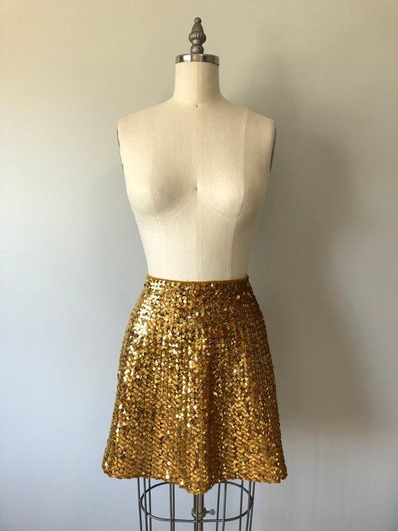 Small Vintage White Sequin Skirt 1960s Iridescent Glitter Party Dress