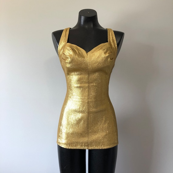 Gold Vintage Swimsuit / One Piece Stunning Bathing