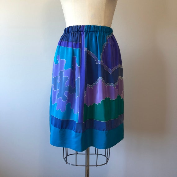 Hand made blue silky floral skirt