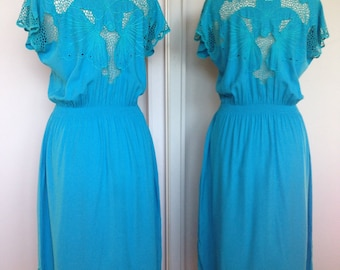 Bright Aqua Blue Butterfly Vintage Spring Summer 80s Dress With Cut Out Detailing