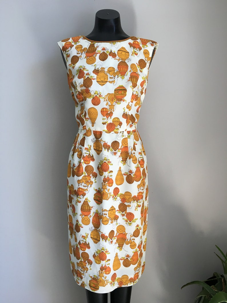 Hot Air Balloon Vintage 50s Dress  Rockabilly Pin Up Style  Orange Yellow And Cream Colours  Vintage Wiggle Dresses