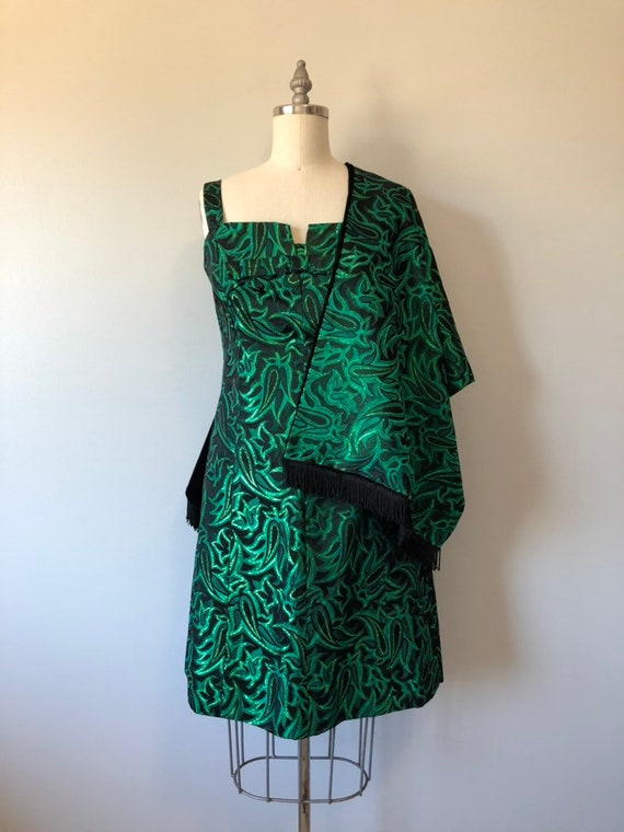 Stunning 60s Dress / Rich Metallic Green With Blac