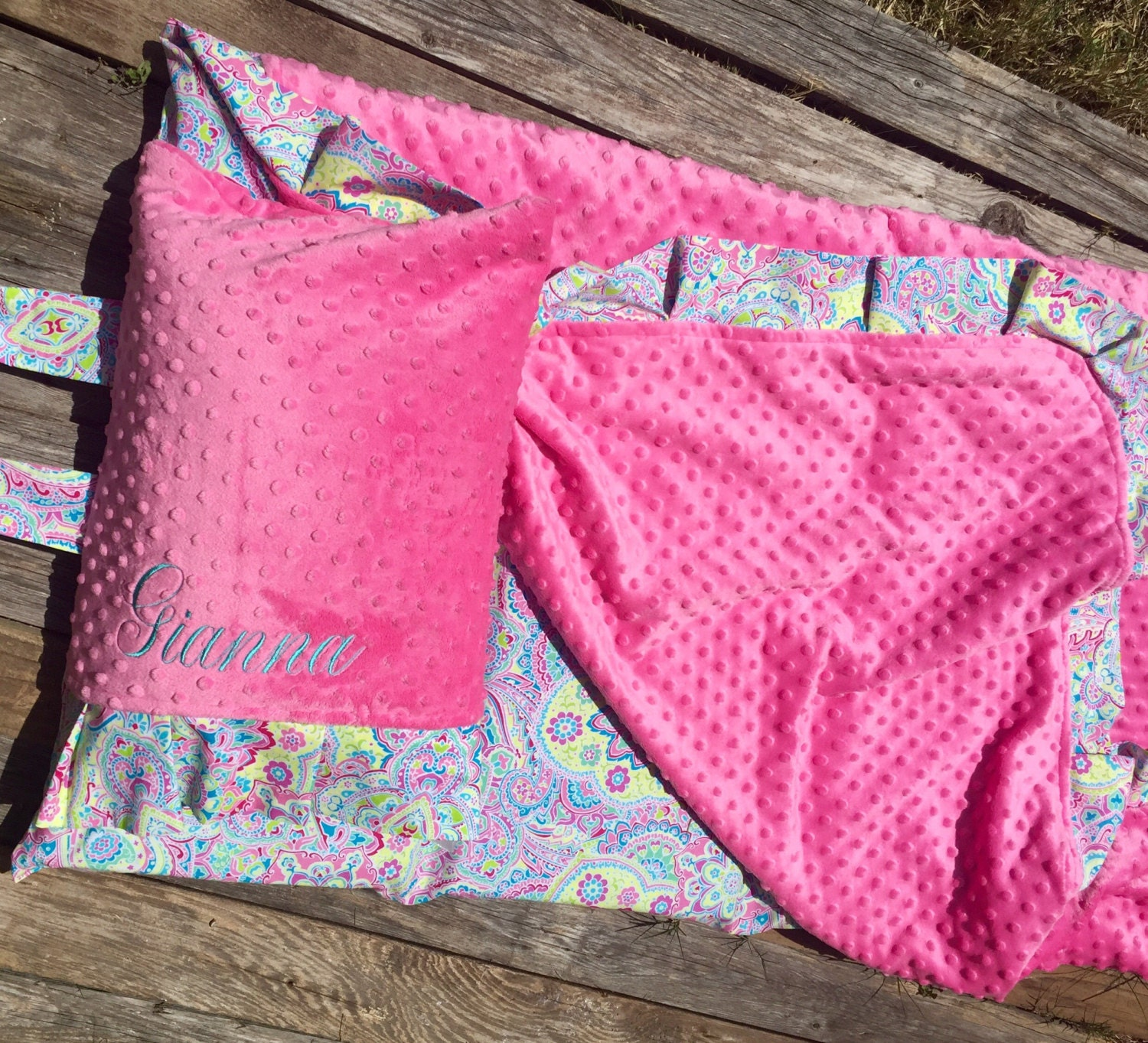 Nap Mat Cover With Attached Ruffle Minky Blanket Amp Etsy