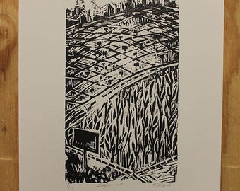 Land Plot Print // Woodcut