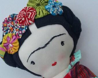 Frida-inspired cloth doll custom heirloom nursery decor rag doll child friendly frida kahlo