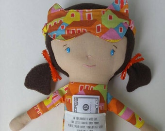 Emelia/Medium - mayo studio cloth doll rag doll custom handmade toothfairy helper