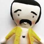 Freddy Mercury-inspired, Queen, symbol, iconic, pop artist, rag doll, cloth doll, maylo, heirloom, handmade, mini-me