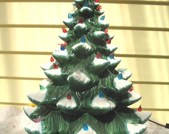 vintage ceramic christmas tree mid century lighted atlantic mold