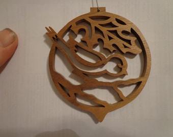 Wooden Chickadee Christmas Ornament American Hardwood