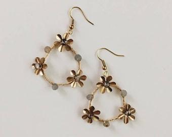 Boucles d'oreilles fleur couronne, #1701