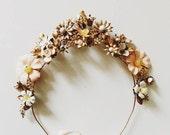 Bespoke crown, large, ceramic and brass #1501