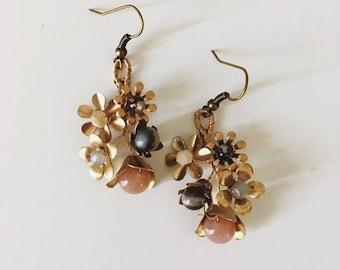 Boucles d'oreilles grappe fleur sauvage, #1507