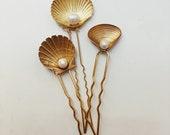 Seashell hairpins, #1806