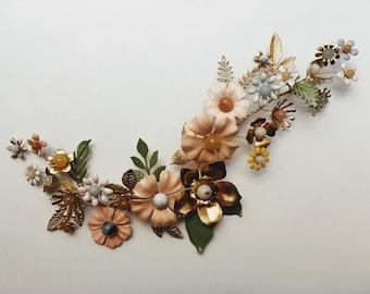 Bespoke hair vine,  ceramic and brass #1500