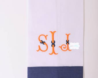 Hemstitched Linen Guest Towel With Navy Linen Border with Monogram
