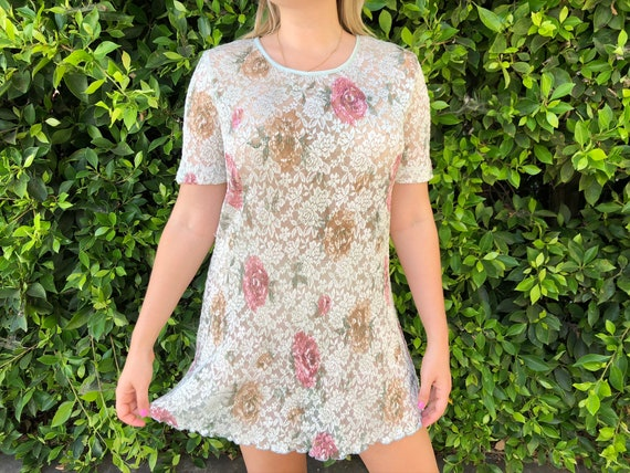 Amazing sheer 1990s lace pastel baby doll dress