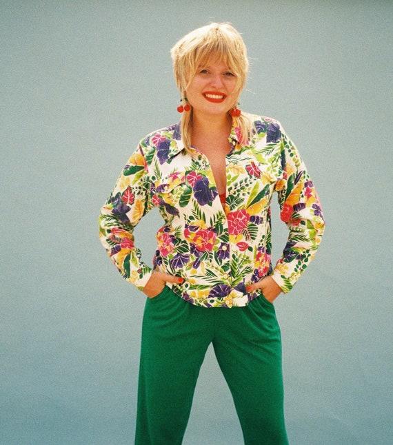 80s beaded floral leisure suit set