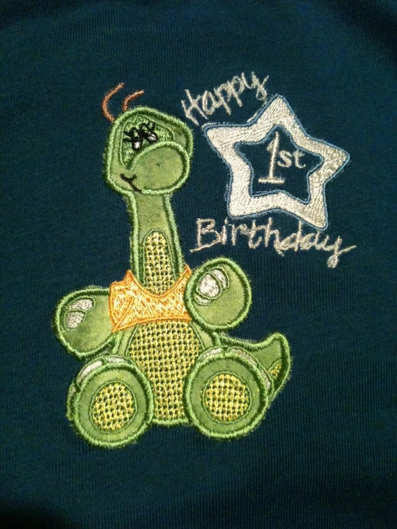 Happy Birthday Dino Applique Bib
