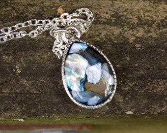 Abalone Teardrop Resin Pendant, Seashell, Ocean, Beach, Necklace, Jewelry, Jewellery, Women's accessory, Charm Necklace, Silver Necklace