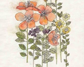 "Coral Flowers Print - Rustic Flower Wall Art, Botanical Artwork, Coral Flowers Art 8""x10"", 5""x7"", 9""x12"" or 11""x14"""