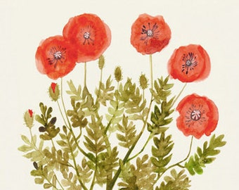 """Poppies - Original Watercolor and Ink Illustration - 9""""x12"""" - Flower Wall Art"""