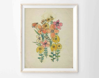 """Watercolor and Ink Flowers Archival Print  - Modern Bohemian Art, 8""""x10"""", 5""""x7"""", 9""""x12"""" or 11""""x14"""""""