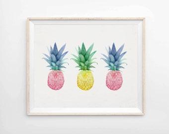 Pineapple Trio - Archival Pineapple Print - Pineapple Art Print - Tropical Decor - Giclee Print - Art & Collectibles - Pineapple Decor