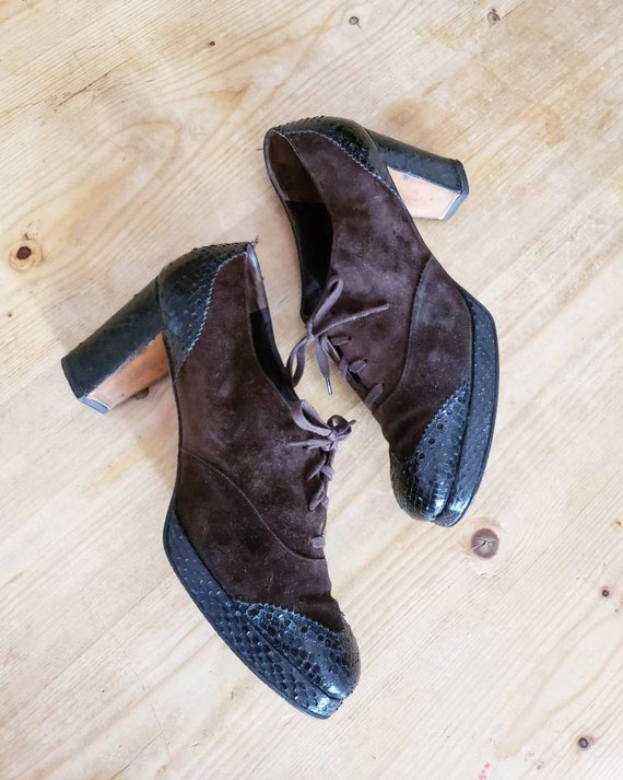 Amazing Vintage Suede 1940s 1950s Brown Black Snak