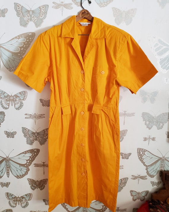 Vintage Bright Yellow 1980s OverSized Dramatic Dre