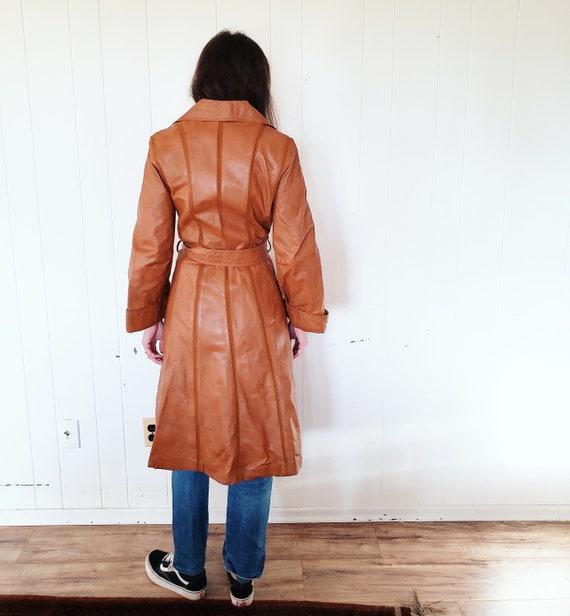 Gorgeous 1970s Orange Brown Striped Leather Hippy… - image 7
