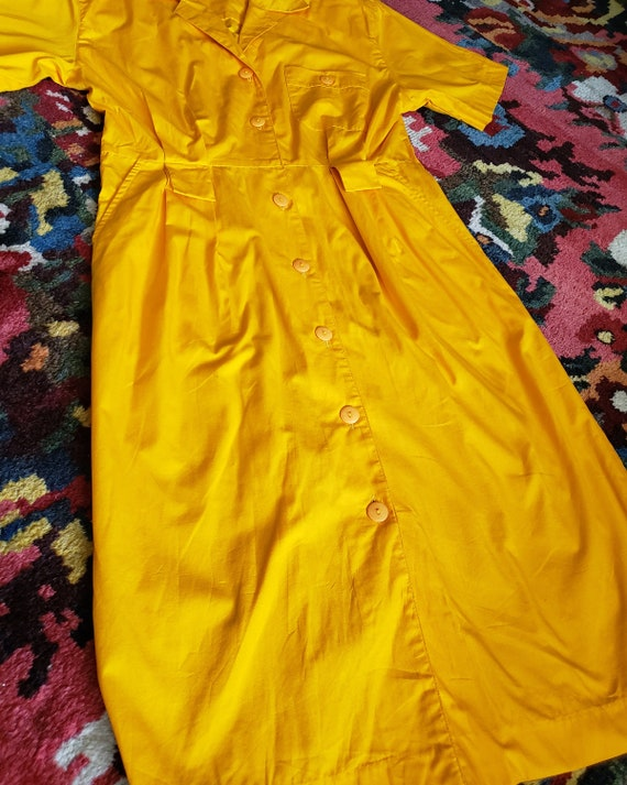 Vintage Bright Yellow 1980s OverSized Dramatic Dr… - image 6