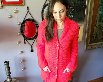 Great 1970s Bright Red Knit Cardigan Sweater