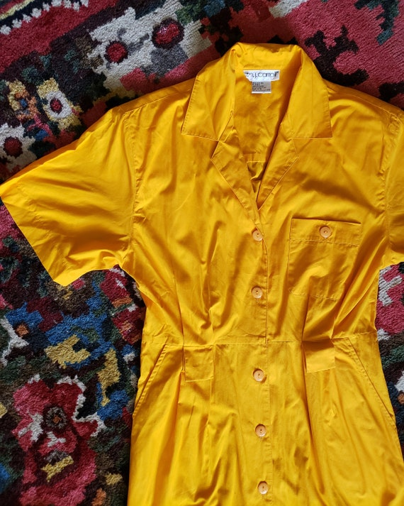 Vintage Bright Yellow 1980s OverSized Dramatic Dr… - image 5
