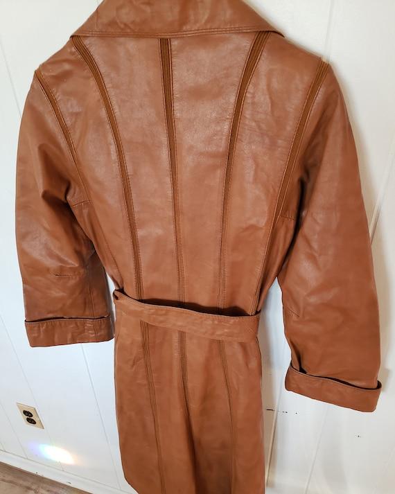 Gorgeous 1970s Orange Brown Striped Leather Hippy… - image 2