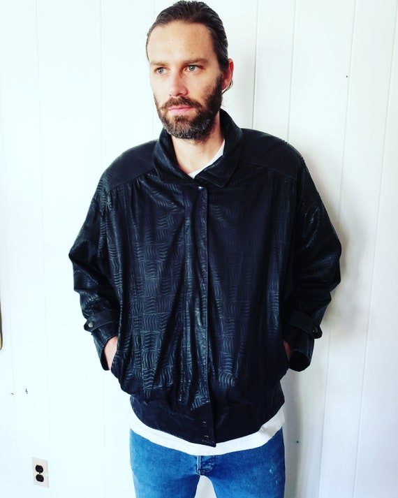 FuNkY 1990s 1990s Mens Black Leather Coat Jacket
