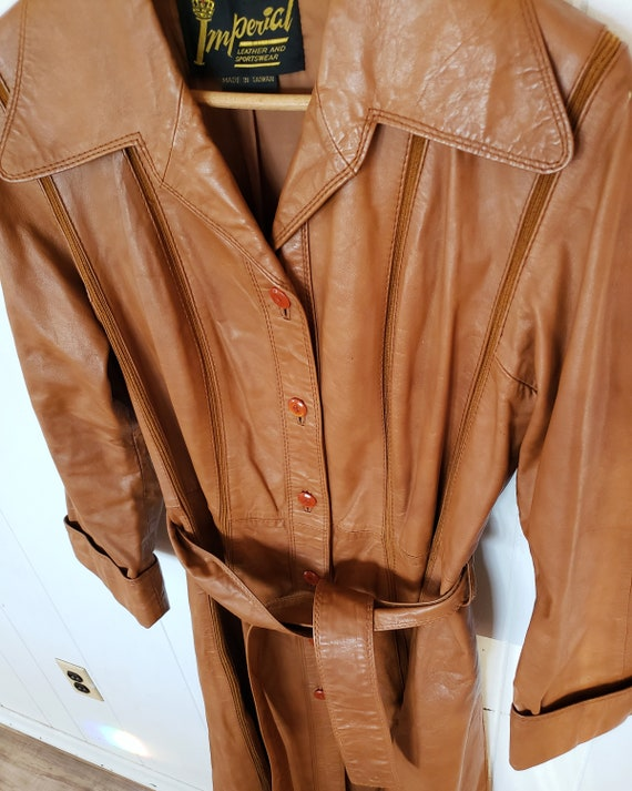 Gorgeous 1970s Orange Brown Striped Leather Hippy… - image 4