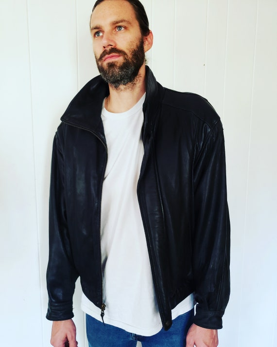 Cool 1990s Mens Black Leather Coat Jacket