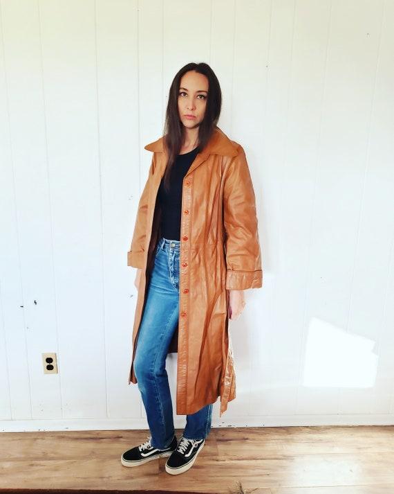 Gorgeous 1970s Orange Brown Striped Leather Hippy… - image 5